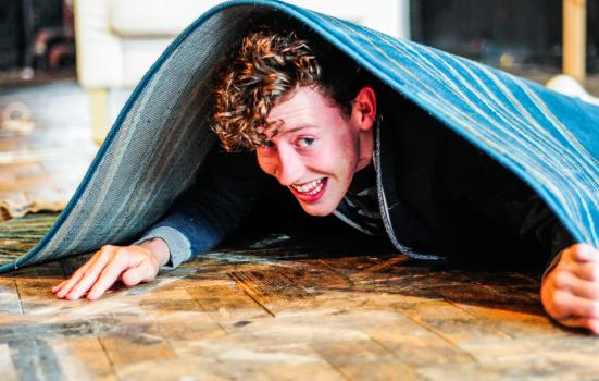 Photo of a man under a rug