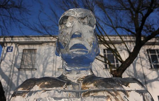 Photo of man's head sculpted from ice