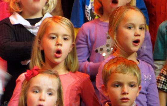 Photo of children singing