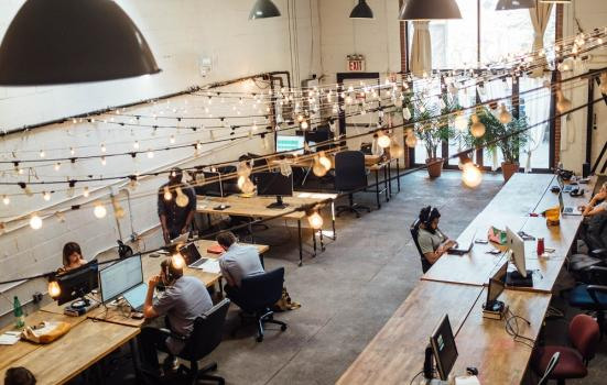 A photo of a shared workspace