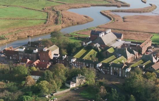 An aerial photo of Snape Maltings