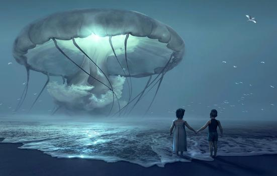 two children at dusk on a beach holding hands and looking at what looks like a jellyfish in the sky
