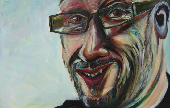 Man painting glasses