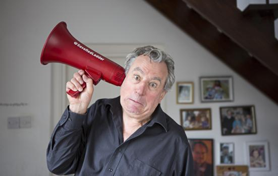 Photo of Terry Jones with megaphone