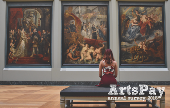 A woman sitting in front of paintings in a gallery