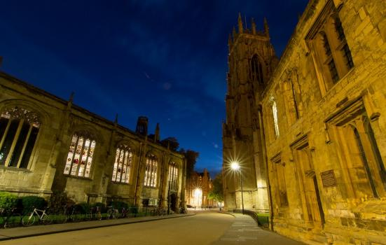 A photo of a York Minster cathedral at night