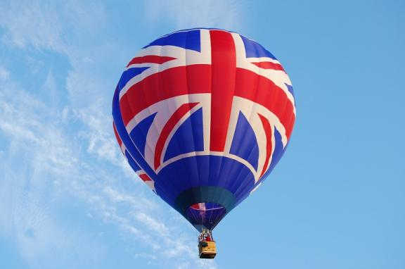 Floating union Jack hot air balloon