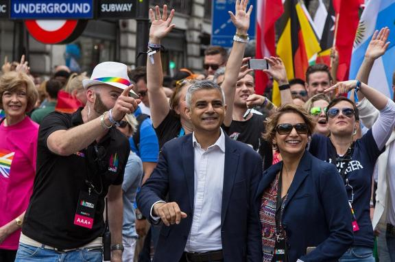 Sadiq Khan at London's Pride Festival, 2016