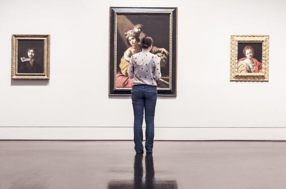 Photo of woman in a gallery